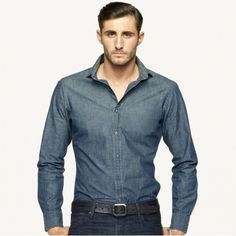 $265, Chambray Sloan Sport Shirt by Ralph Lauren Black Label. Sold by Ralph Lauren. Click for more info: http://lookastic.com/men/shop_items/11766/redirect
