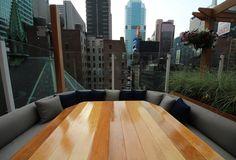 Haven: A rooftop getaway in Midtown. Haven Rooftop, Cedar Furniture, Backyard Landscaping, Pergola, Lounge, Table, Outdoor, Home Decor, Yard