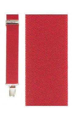 Men's Red Elastic Suspenders