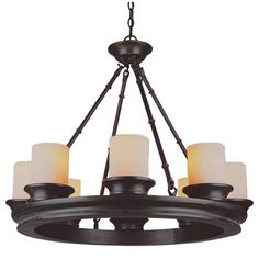 Olde World Eight-Light Rubbed Oil Bronze Chandelier with Frosted Glass