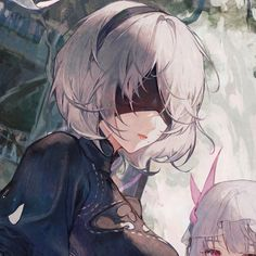 artist: @matchach on twitter #matching #icons #girl #nier #automata #2b Cute Anime Profile Pictures, Matching Profile Pictures, Friend Anime, Anime Best Friends, Anime Couples Drawings, Cute Anime Couples, Matching Pfp, Matching Icons, Yuri