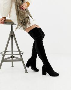 07b65abe717 ASOS DESIGN Wide Leg Kadi heeled thigh high boots Thigh High Boots