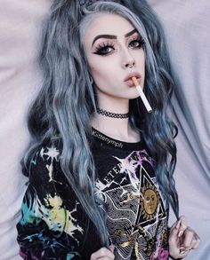 "S very apparent , that this beautiful "" goth "" model has Goth Beauty, Dark Beauty, Goth Makeup, Hair Makeup, Punk, Pixie Bob, Chica Cool, Goth Model, Scene Girls"