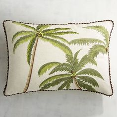 Embroidered Palm Tree Lumbar Pillow | Pier 1 Imports