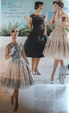 1960, cream or black lace tea length evening dresses