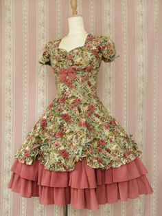 "Gorgeous Victorian Maiden one piece ""Forest Rose"" dress. ¥27,300 (~AU$350). Puff sleeves, sweetheart neckline, ruffled layered skirt, bows and a laced back.  #lolita #dress"