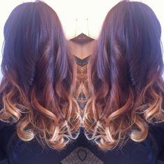 From dark chocolate ombré to caramel to a light golden blonde. Hair cut & quick style.