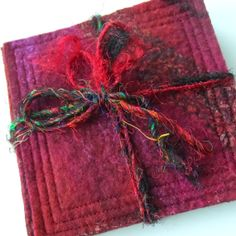 TOP-STITCHING MAKES A NICE FINISH - Felted Coasters  set of 4  Red and Raspberry  by feltersjourney, £12.00