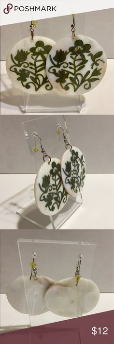 "Vintage 70s Mother of Pearl Inlay Earrings EUC Gorgeous vintage inlay earrings circa 70s. Retro inlay design of bird and trees. Approximately 1.5"" across. Vintage Jewelry Earrings"