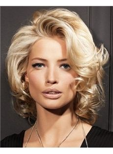 Full Lace Short Curly Blonde Remy Hair Wig