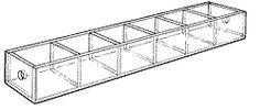 "Mini Tray-1"" H x 10"" W x 1-3/4"" D. Six 1 1/2""-wide compartments."