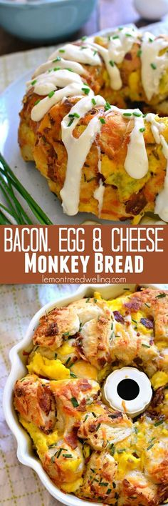This Bacon Egg and Cheese Monkey Bread combines all your breakfast favorites in . This Bacon Egg and Cheese Monkey Bread combines all your breakfast favorites in one delicious pull-apart bread! What's For Breakfast, Breakfast Dishes, Breakfast Casserole, Breakfast Recipes, Morning Breakfast, Breakfast Muffins, Breakfast Potluck, Teacher Breakfast, School Breakfast