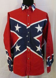 Rebel Confederate Flag Long Sleeve Shirt by Limited Edition Size Large CSA #LimitedEdition #ButtonFront