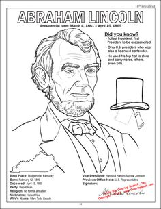 Abraham Lincoln Coloring Page SS Patriotic Pinterest Abraham