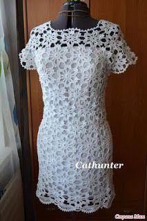 d89b883c5 Vestido feito com União de Motivos em Crochê ( com gráfico ) - Katia  Ribeiro Crochê Moda e Decoração