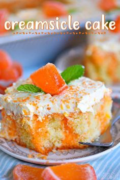 easy Orange Creamsicle Poke Cake is a wonderful addition to all your summer parties! A lovely vanilla cake that is bursting with orange flavor and topped with a fluffy orange and vanilla frosting that no one will be able to resist! // Mom On Timeout Mini Desserts, Easy Desserts, Dessert Recipes, Vanilla Desserts, Summer Cake Recipes, Easy Cake Recipes, Delicious Recipes, Cupcakes, Cupcake Cakes