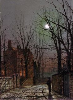 Moonlight - painting by John Atkinson Grimshaw Atkinson Grimshaw, Photo D Art, Nocturne, Oeuvre D'art, Love Art, Les Oeuvres, Amazing Art, Amazing Nature, Art Photography