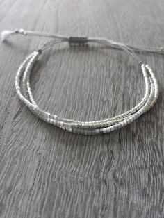 Silver and Grey Tiny Bead Bracelet Sterling Silver Bracelet Modern Jewelry Minimalist Bracelet Miyuki Delica Seed Beads Boho Jewelry Modern Jewelry, Boho Jewelry, Beaded Jewelry, Jewelery, Beaded Bracelets, Jewelry Crafts, Fashion Jewelry, Stackable Bracelets, Silver Jewellery