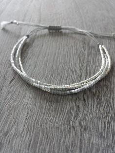 Silver and Grey Tiny Bead Bracelet Sterling Silver Bracelet