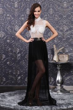 Black-white See-through Lace Top Evening Gown