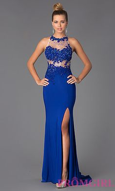 Sleeveless Floor Length Dress with Illusion Bodice at PromGirl.com