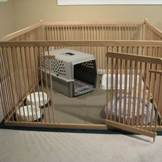 Furniture-quality Small Dog Exercise Pen - READY-to-FINISH Solid Red OAK, floor included. Nice product for other small animals too, like rabbits. Great for foster-care providers, puppies, etc. Puppy Care, Pet Care, Labradoodle Breeders, Cavachon Puppies, Labradoodles, Puppy Pens, Red Oak Floors, Dog Pen, Dog Rooms