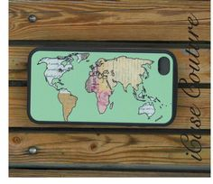 world map iphone 4 case iphone 4 cover iphone 4s by icasecouture, $15.00