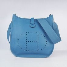 18a7d2e873 Hermes Leather Evelyne Messenger Bag MM - Blue  209.00 Hermes Handbags