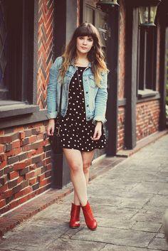 Tieka // Selective Potential: jean jacket, polka dot dress, ankle boots.