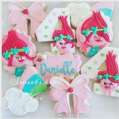 "@sweetsbygigi on Instagram: ""Trolls cookies for my niece Danielle! We love you so much #birthdaygirl #lakeforest #irvine #orangecounty #oc #trolls #poppy #cookies…"""