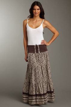 Nothing looks better than a long gypsy skirt with a simple cami