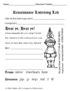 Renaissance Listening Lab from Miss Barker's Musical Materials on TeachersNotebook.com (1 page)