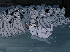 Later, when the dalmatians are back on the run, who do you think almost gets them caught again?     Rolly.