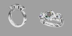 Series 16 3 Stone Ring revised for 6mm center stones and 3.75 mm side stones
