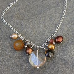 Gemstone Necklace,  Yellow Chalcedony, Smoky Quartz, Champagne Crystal, Chocolate Brown Pearl, Sterling Silver Chain. $58.00, via Etsy.