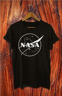 nasa shirt nasa tshirt black white grey t shirt by Alyssioshop
