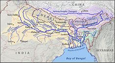 A map showing the major rivers that flow into the Bay of Bengal
