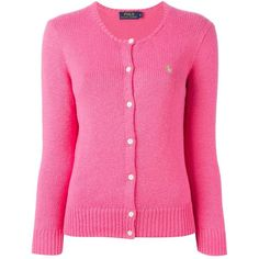 Polo Ralph Lauren crew neck cardigan ($120) ❤ liked on Polyvore featuring tops, cardigans, cardigan top, crew neck cardigan, crewneck cardigan, crew neck tops and pink top