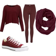 Burgundy day by mayaxx-z on Polyvore featuring polyvore, fashion, style, Topshop, Converse and Athleta