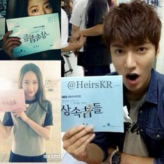 Lee Min Ho, Park Shin Hye and Krystal pose with the first script of 'Heirs' #kdrama