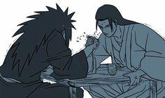 Hashirama, Madara, funny, arm wrestling, text; Naruto