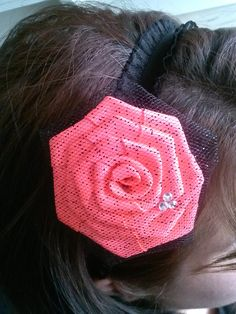 Hot pink Rosette rapped with tulle headband, sold on Etsy.com or facebook By Snazzie&Classie Hair Accessories an more.