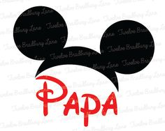Disney Iron On Transfer PAPA Mickey Ears by TwelveBradburyLane, $3.95