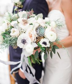 Wonderful white anemones with hand-dyed silk ribbon in moody blue hues. @michelleleoevents Floral: @bloomsandblossoms Photography: @gideonphoto