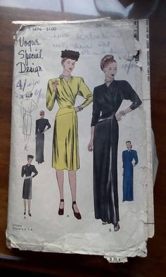 Vogue special design S-4676 | ca. 1947 One-piece dress