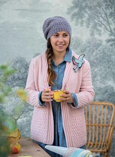 un patron gratuit pour tricoter un gilet Marie Claire, Gilet Crochet, Templates Free, Loom Knit, Mantle, Winter, Jacket