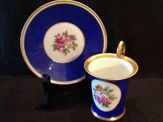 Vintage Rosenthal Selb Bavaria Tea Cup <> Demitasse Cup & Saucer <> Cobolt Blue and White <> 22 Kt. Gold <> 1930's <> EXCELLENT CONDITION