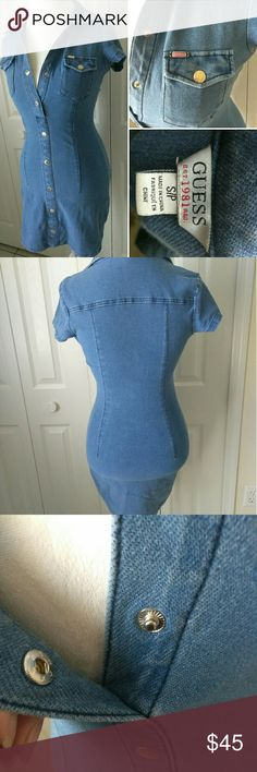Selling this GUESS denim bodycon dresd on Poshmark! My username is: lani1311. #shopmycloset #poshmark #fashion #shopping #style #forsale #Guess #Dresses & Skirts