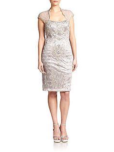 Sue Wong Embellished Cap-Sleeve Dress