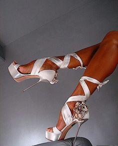 White ribbon laced
